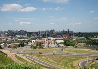 Uitzicht op Barnaul, de hoofdstad van Altai krai