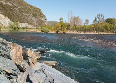 Groen water van de Charysh rivier