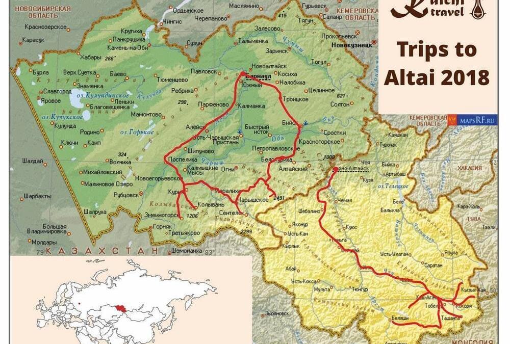 Ons schema voor de reizen in 2018 naar de Russische Altai